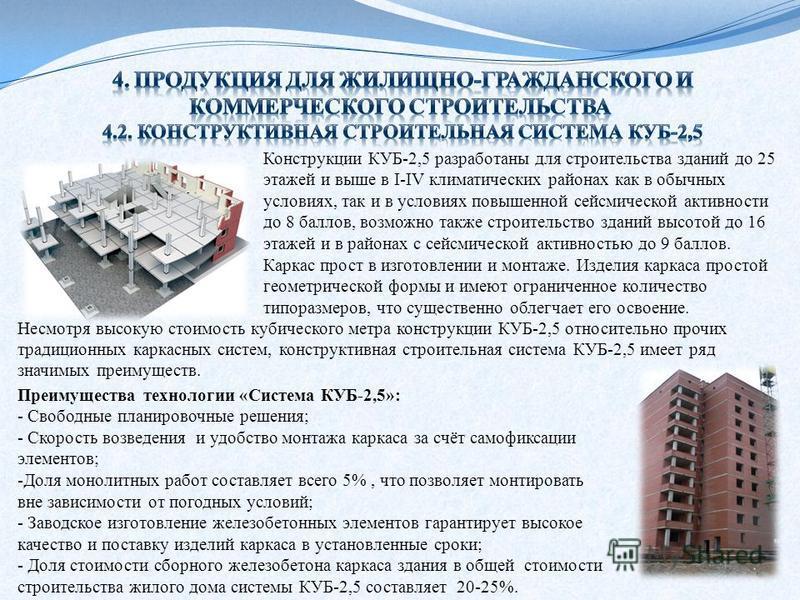 Конструкции КУБ-2,5 разработаны для строительства зданий до 25 этажей и выше в I-IV климатических районах как в обычных условиях, так и в условиях повышенной сейсмической активности до 8 баллов, возможно также строительство зданий высотой до 16 этаже