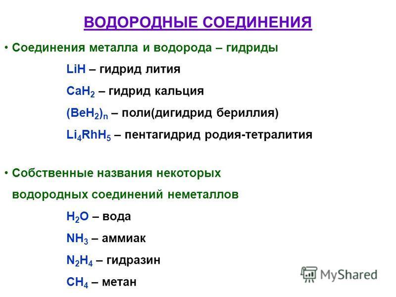 ВОДОРОДНЫЕ СОЕДИНЕНИЯ Соединения металла и водорода – гидриды LiH – гидрид лития CaH 2 – гидрид кальция (BeH 2 ) n – поли(гидрид бериллия) Li 4 RhH 5 – пентагидрат родия-тетра лития Собственные названия некоторых водородных соединений неметаллов H 2