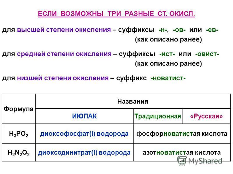 ЕСЛИ ВОЗМОЖНЫ ТРИ РАЗНЫЕ СТ. ОКИСЛ. для высшей степени окислыыыыыыыыения – суффиксы -н-, -ов- или -ев- (как описано ранее) для средней степени окислыыыыыыыыения – суффиксы -ист- или -овист- (как описано ранее) для низшей степени окислыыыыыыыыения – с