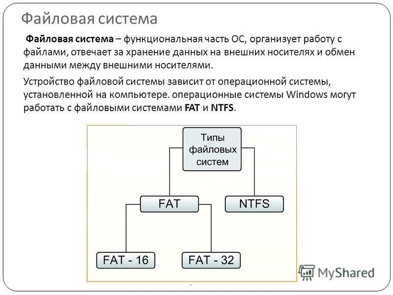 Файловая система Файловая система – функциональная часть ОС, организует работу с файлами, отвечает за хранение данных на внешних носителях и обмен данными между внешними носителями. Устройство файловой системы зависит от операционной системы, установ