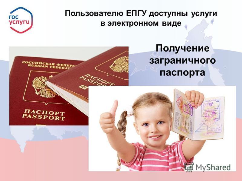 Пользователю ЕПГУ доступны услуги в электронном виде Получение заграничного паспорта