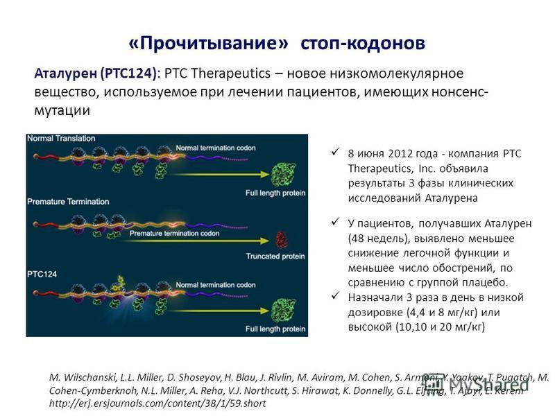 Аталурен (PTC124): PTC Therapeutics – новое низкомолекулярное вещество, используемое при лечении пациентов, имеющих нонсенс- мутации «Прочитывание» стоп-кодонов 8 июня 2012 года - компания PTC Therapeutics, Inc. объявила результаты 3 фазы клинических