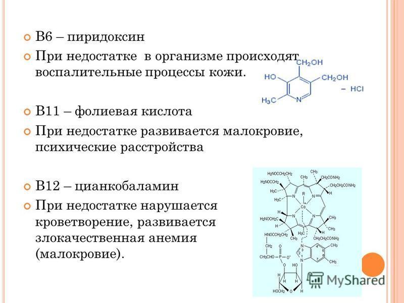 В6 – пиридоксин При недостатке в организме происходят воспалительные процессы кожи. В11 – фолиевая кислота При недостатке развивается малокровие, психические расстройства В12 – цианкобаламин При недостатке нарушается кроветворение, развивается злокач