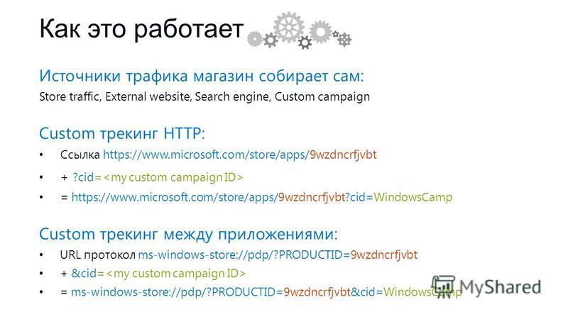 Как это работает Источники трафика магазин собирает сам: Store traffic, External website, Search engine, Custom campaign Custom трекинг HTTP: Ссылка https://www.microsoft.com/store/apps/9wzdncrfjvbt + ?cid= = https://www.microsoft.com/store/apps/9wzd