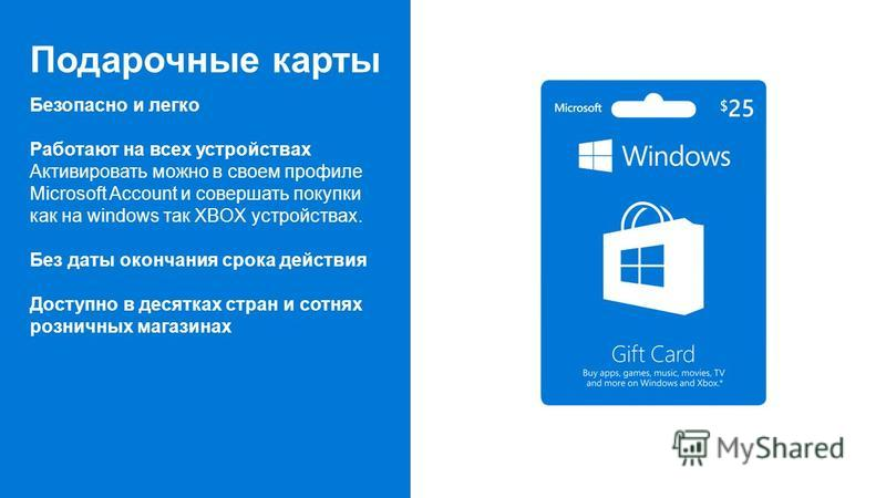 Подарочные карты Безопасно и легко Работают на всех устройствах Активировать можно в своем профиле Microsoft Account и совершать покупки как на windows так XBOX устройствах. Без даты окончания срока действия Доступно в десятках стран и сотнях розничн
