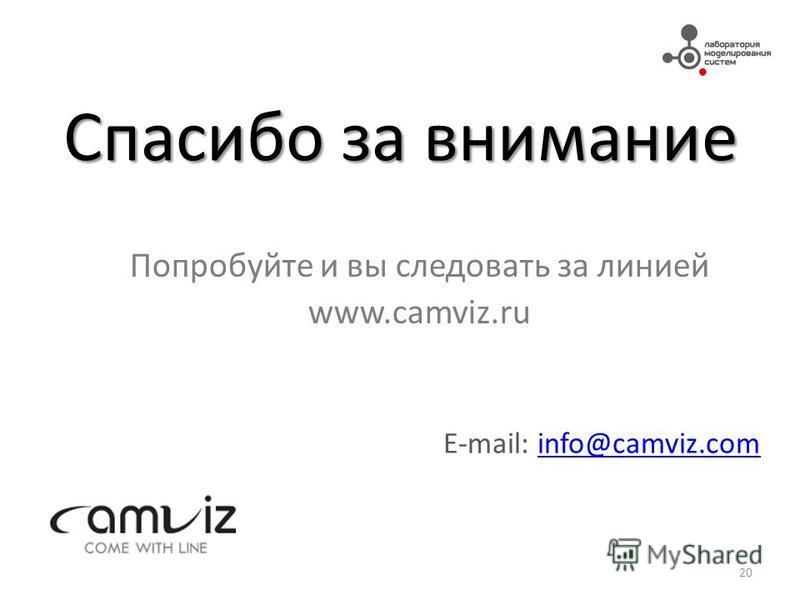 Спасибо за внимание Попробуйте и вы следовать за линией www.camviz.ru 20 E-mail: info@camviz.cominfo@camviz.com