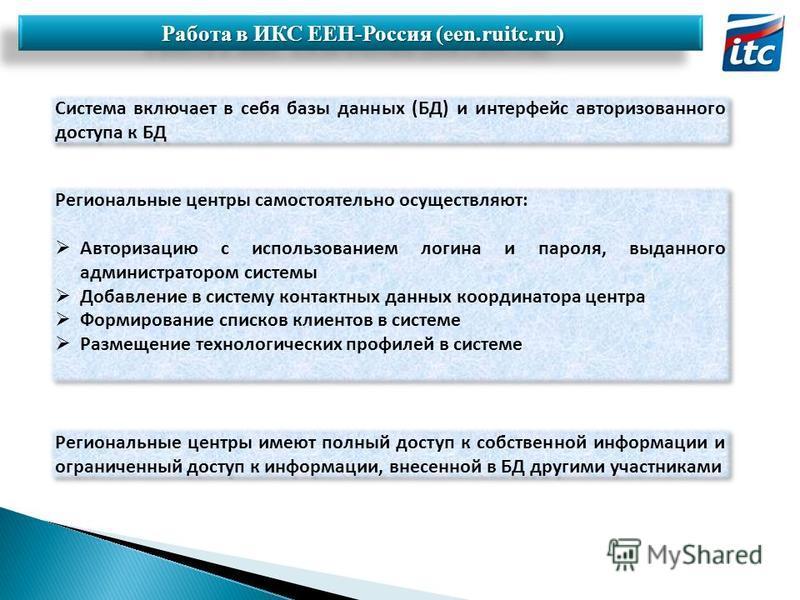 Работа в ИКС ЕЕН-Россия (een.ruitc.ru) Работа в ИКС ЕЕН-Россия (een.ruitc.ru) Система включает в себя базы данных (БД) и интерфейс авторизованного доступа к БД Региональные центры самостоятельно осуществляют: Авторизацию с использованием логина и пар