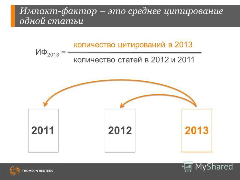 Импакт-фактор – это среднее цитирование одной статьи 201120122013 ИФ 2013 = количество цитирований в 2013 количество статей в 2012 и 2011