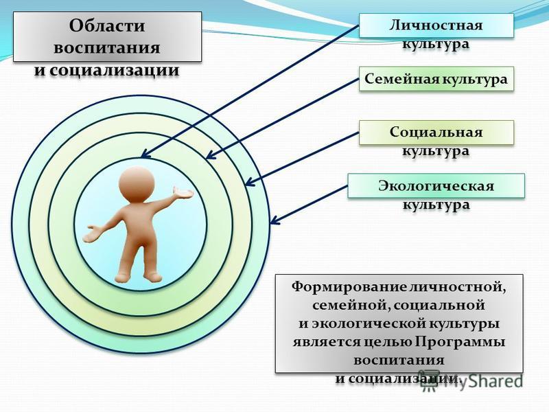 Области воспитания и социализации Личностная культура Социальная культура Семейная культура Формирование личностной, семейной, социальной и экологической культуры является целью Программы воспитания и социализации. Экологическая культура