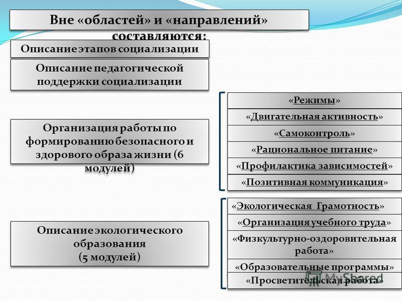 Вне «областей» и «направлений» составляются: Описание этапов социализации Описание педагогической поддержки социализации Организация работы по формированию безопасного и здорового образа жизни (6 модулей) Описание экологического образования (5 модуле