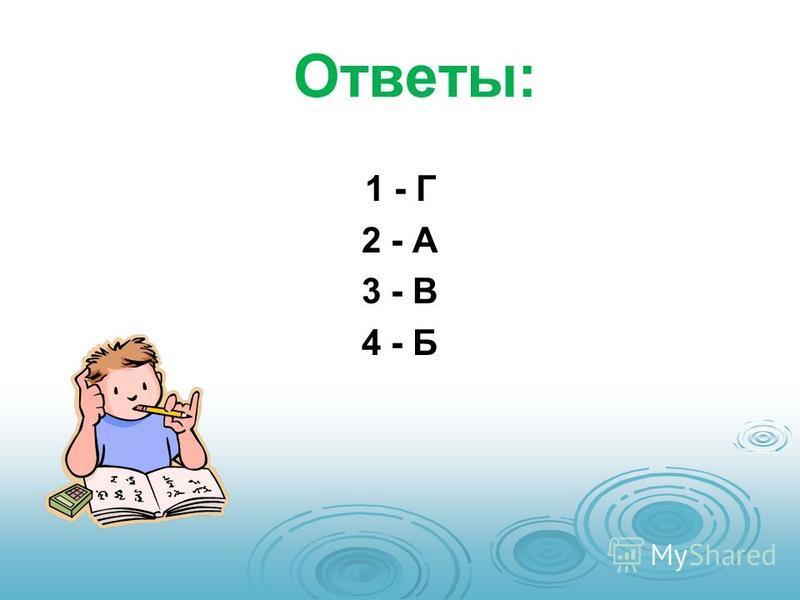 Ответы: 1 - Г 2 - А 3 - В 4 - Б