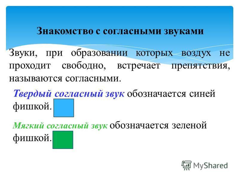 Знакомство с согласными звуками Звуки, при образовании которых воздух не проходит свободно, встречает препятствия, называются согласными. Твердый согласный звук обозначается синей фишкой. Мягкий согласный звук обозначается зеленой фишкой.