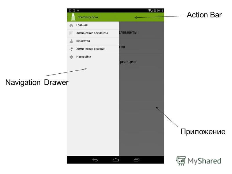 Action Bar Navigation Drawer Приложение