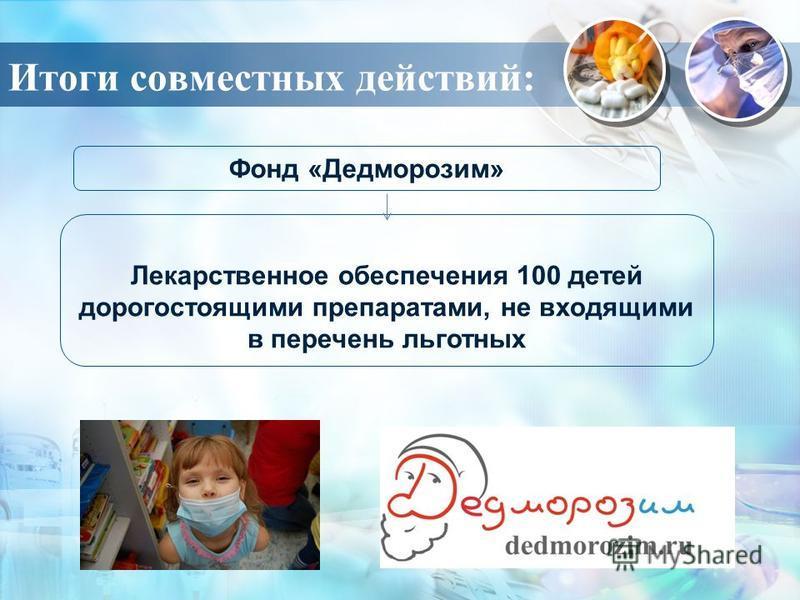 Итоги совместных действий: Фонд «Дедморозим» Лекарственное обеспечения 100 детей дорогостоящими препаратами, не входящими в перечень льготных