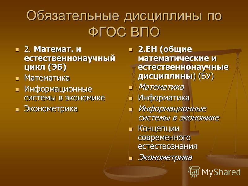Обязательные дисциплины по ФГОС ВПО 2. Математ. и естественнонаучный цикл (ЭБ) 2. Математ. и естественнонаучный цикл (ЭБ) Математика Математика Информационные системы в экономике Информационные системы в экономике Эконометрика Эконометрика 2. ЕН (общ