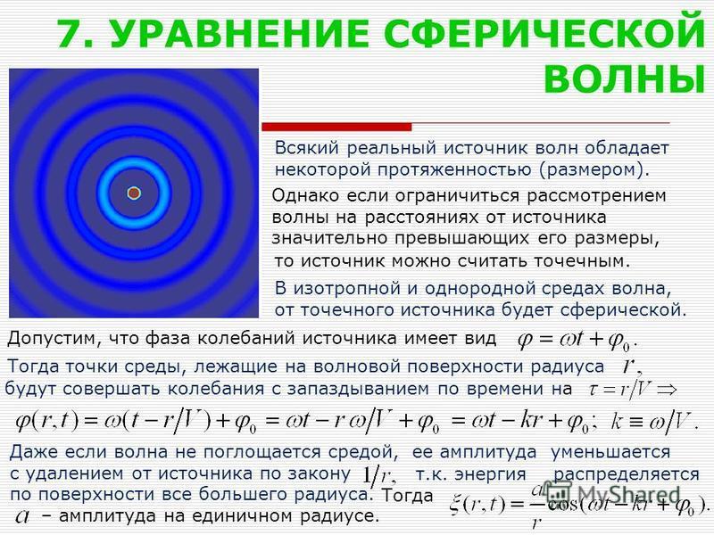 7. УРАВНЕНИЕ СФЕРИЧЕСКОЙ ВОЛНЫ Всякий реальный источник волн обладает некоторой протяженностью (размером). будут совершать колебания с запаздыванием по времени на Даже если волна не поглощается средой, ее амплитуда уменьшается с удалением от источник