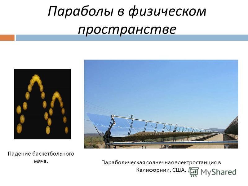 Параболы в физическом пространстве Падение баскетбольного мяча. Параболическая солнечная электростанция в Калифорнии, США.