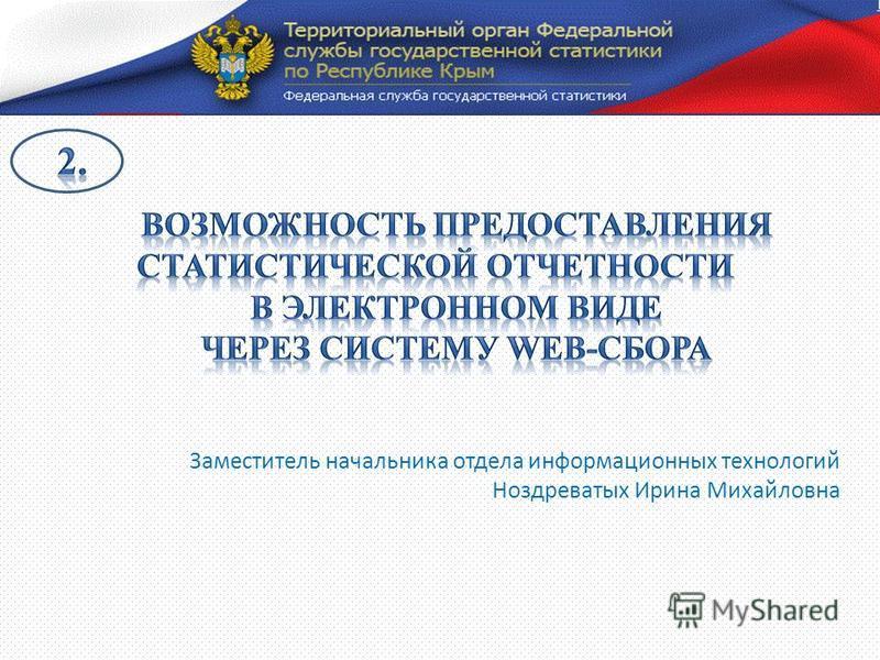 Заместитель начальника отдела информационных технологий Ноздреватых Ирина Михайловна