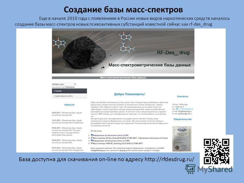 Создание базы масс-спектров Еще в начале 2010 года с появлением в России новых видов наркотических средств началось создание базы масс-спектров новых психоактивных субстанций известной сейчас как rf-des_drug База доступна для скачивания on-line по ад