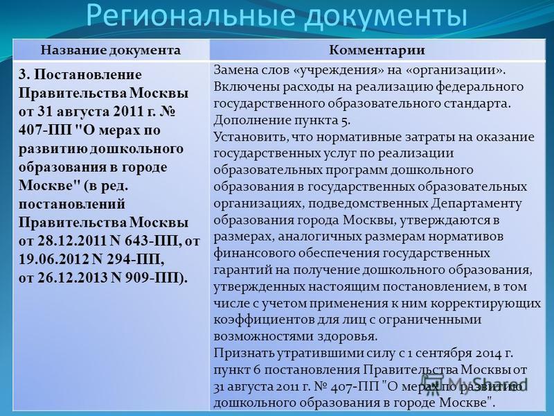 Региональные документы Название документа Комментарии 3. Постановление Правительства Москвы от 31 августа 2011 г. 407-ПП