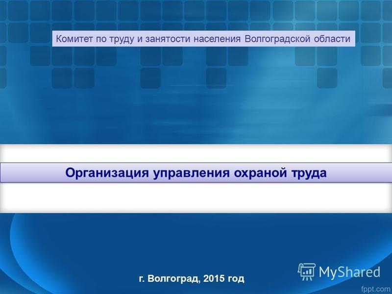 Организация управления охраной труда г. Волгоград, 2015 год Комитет по труду и занятости населения Волгоградской области