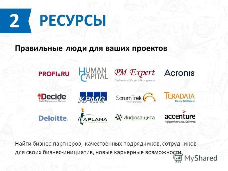 Найти бизнес-партнеров, качественных подрядчиков, сотрудников для своих бизнес-инициатив, новые карьерные возможности РЕСУРСЫ 2 Правильные люди для ваших проектов