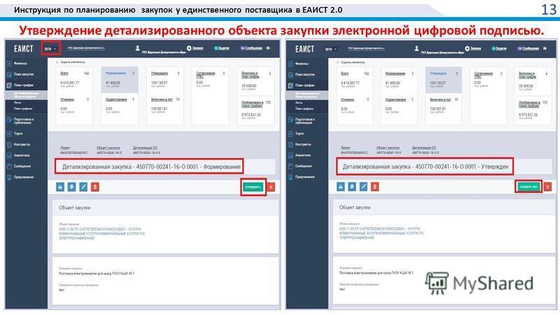 Инструкция по планированию закупок у единственного поставщика в ЕАИСТ 2.0 Утверждение детализированного объекта закупки электронной цифровой подписью. 13