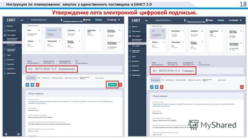 Инструкция по планированию закупок у единственного поставщика в ЕАИСТ 2.0 18 Утверждение лота электронной цифровой подписью.