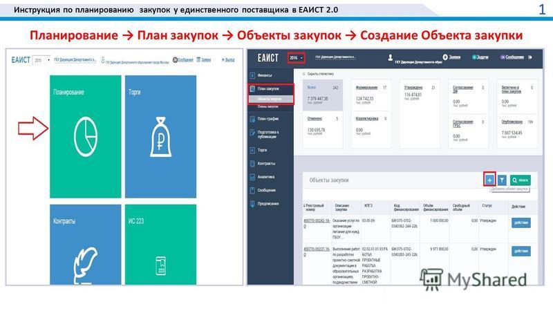 Инструкция по планированию закупок у единственного поставщика в ЕАИСТ 2.0 Планирование План закупок Объекты закупок Создание Объекта закупки 1