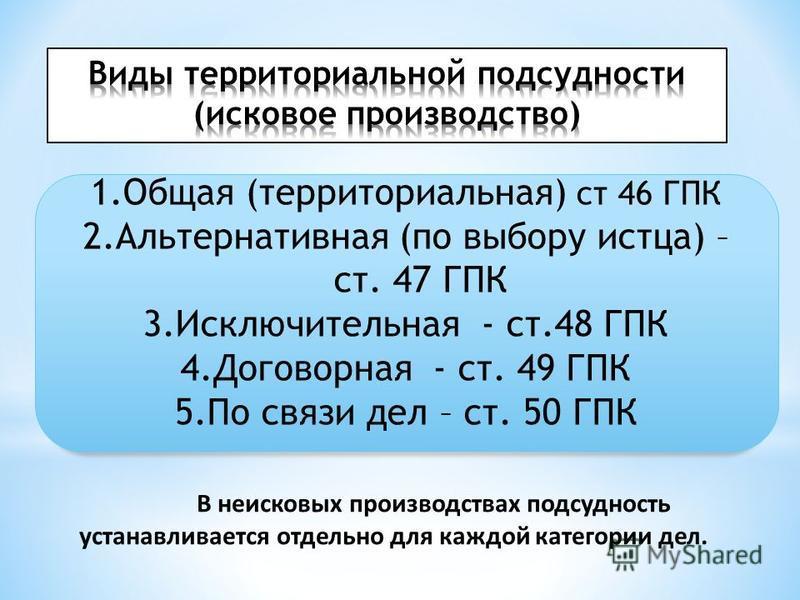 1. Общая (территориальная) ст 46 ГПК 2. Альтернативная (по выбору истца) – ст. 47 ГПК 3. Исключительная - ст.48 ГПК 4. Договорная - ст. 49 ГПК 5. По связи дел – ст. 50 ГПК В неисковых производствах подсудность устанавливается отдельно для каждой кате