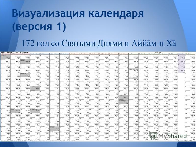 172 год со Святыми Днями и Аййβм-и Хβ Визуализация календаря (версия 1)