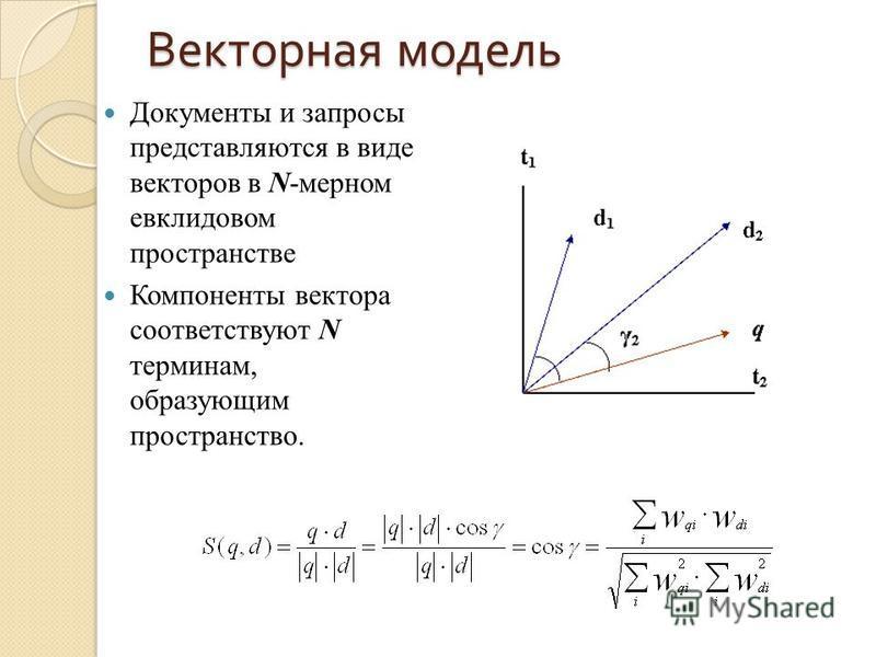 Векторная модель Документы и запросы представляются в виде векторов в N-мерном евклидовом пространстве Компоненты вектора соответствуют N терминам, образующим пространство.