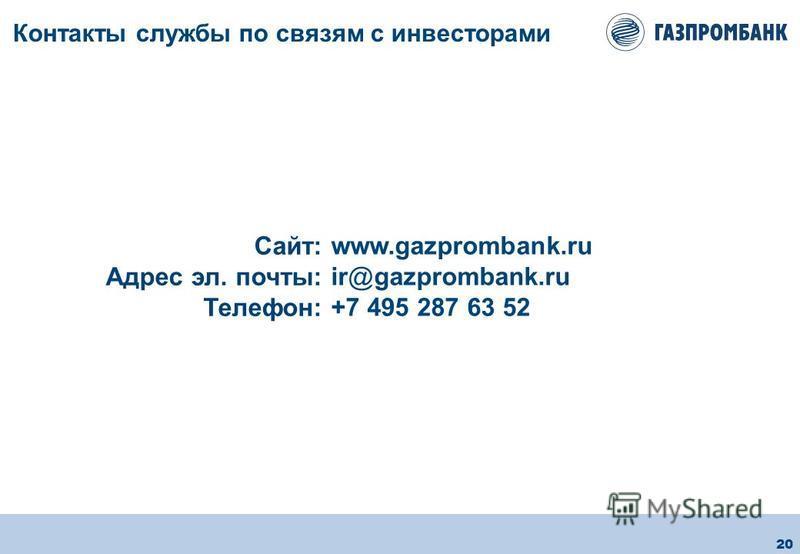 20 Контакты службы по связям с инвесторами www.gazprombank.ru ir@gazprombank.ru +7 495 287 63 52 Сайт: Адрес эл. почты: Телефон: