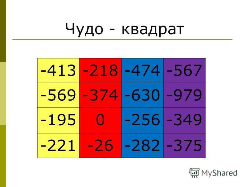 Чудо - квадрат -413-218-474-567 -569-374-630-979 -1950-256-349 -221-26-282-375