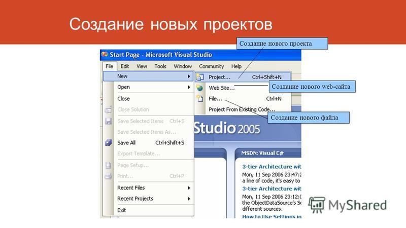 Создание новых проектов Создание нового проекта Создание нового web-сайта Создание нового файла