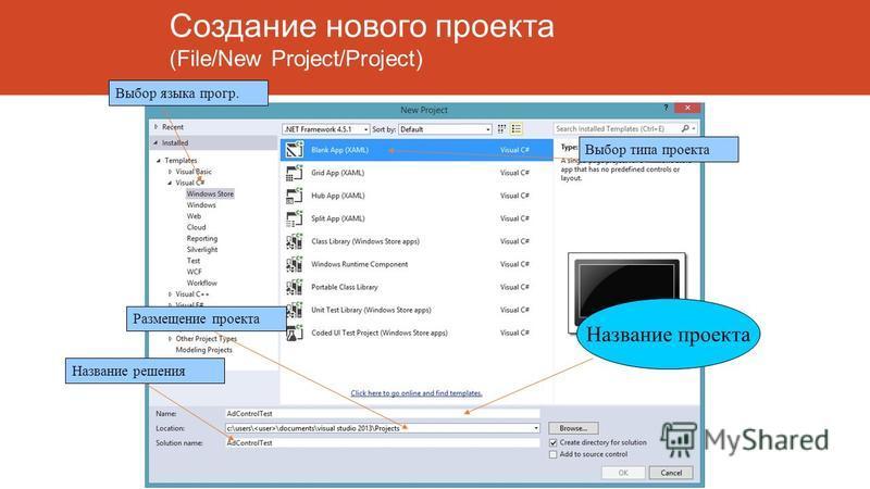 Создание нового проекта (File/New Project/Project) Название проекта Выбор языка прогр. Выбор типа проекта Размещение проекта Название решения