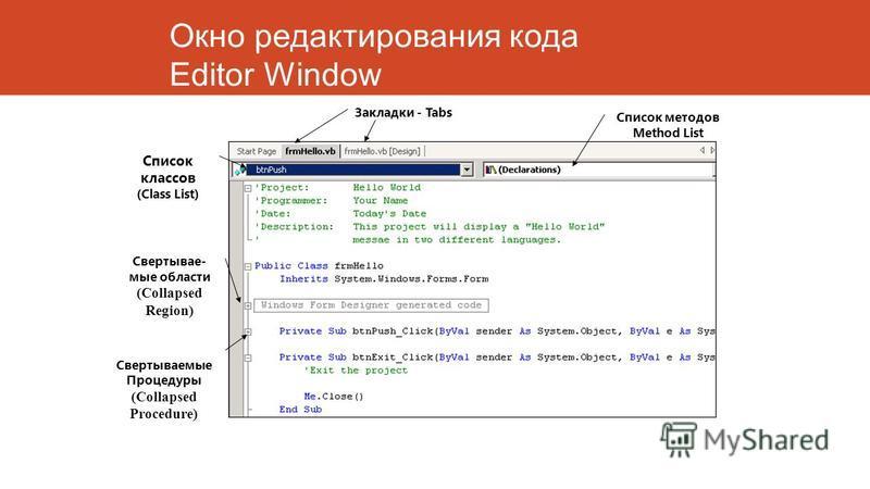 Окно редактирования кода Editor Window Свертывае- мые области (Collapsed Region) Свертываемые Процедуры (Collapsed Procedure) Список классов (Class List) Список методов Method List Закладки - Tabs