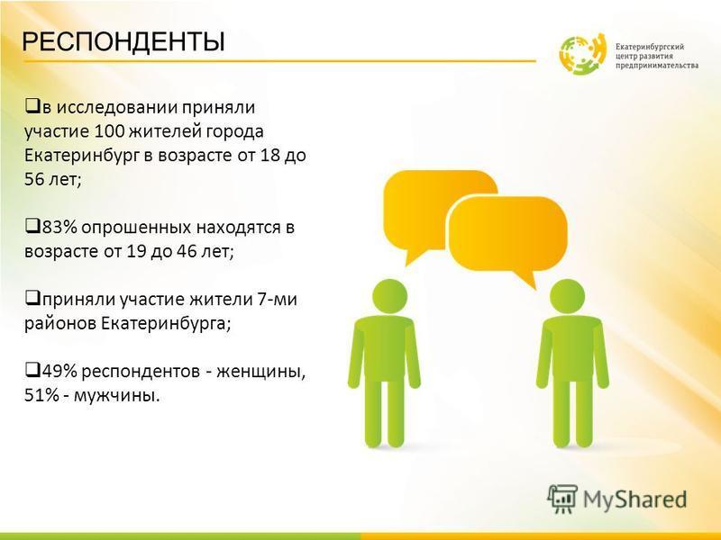 РЕСПОНДЕНТЫ в исследовании приняли участие 100 жителей города Екатеринбург в возрасте от 18 до 56 лет; 83% опрошенных находятся в возрасте от 19 до 46 лет; приняли участие жители 7-ми районов Екатеринбурга; 49% респондентов - женщины, 51% - мужчины.