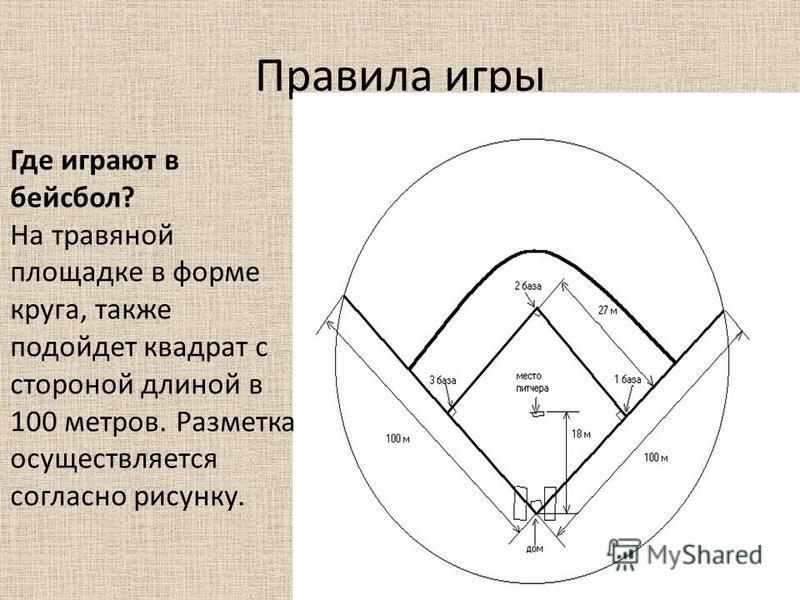 Где играют в бейсбол? На травяной площадке в форме круга, также подойдет квадрат с стороной длиной в 100 метров. Разметка осуществляется согласно рисунку.