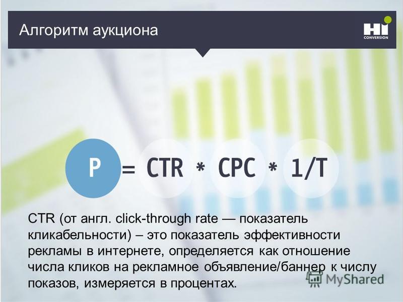Кто может рекламировать? CTR (от англ. click-through rate показатель кликабельности) – это показатель эффективности рекламы в интернете, определяется как отношение числа кликов на рекламное объявление/баннер к числу показов, измеряется в процентах. А