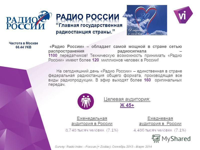 «Радио России» – обладает самой мощной в стране сетью распространения радиосигнала – 1100 передатчиков! Техническую возможность принимать «Радио России» имеют более 120 миллионов человек в России! На сегодняшний день «Радио России» – единственная в с