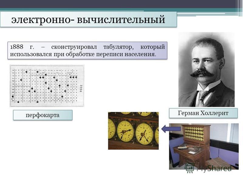 электронно- вычислительный Герман Холлерит 1888 г. – сконструировал табулятор, который использовался при обработке переписи населения. перфокарта
