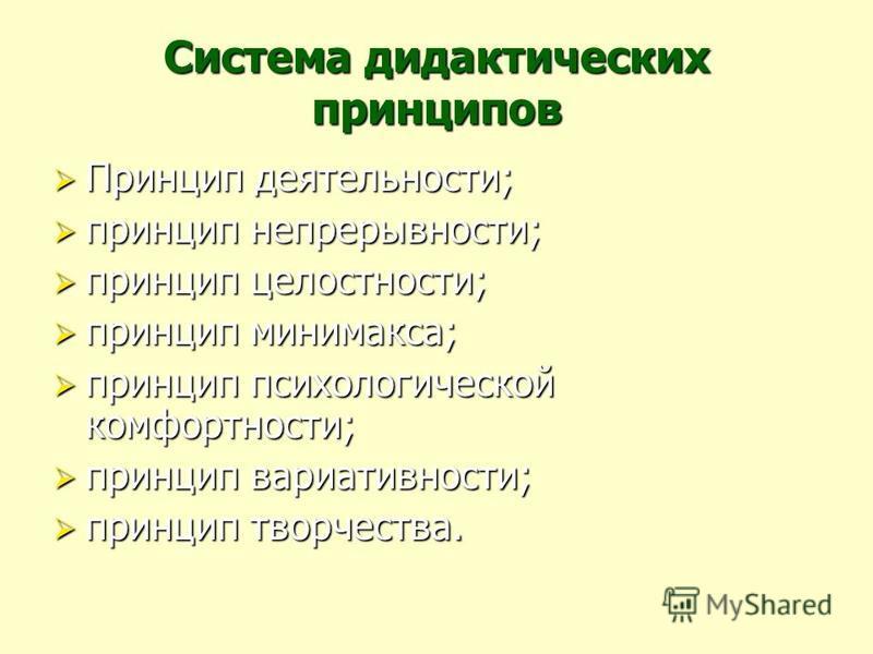 Система дидактических принципов Принцип деятельности; Принцип деятельности; принцип непрерывности; принцип непрерывности; принцип целостности; принцип целостности; принцип минимакса; принцип минимакса; принцип психологической комфортности; принцип пс