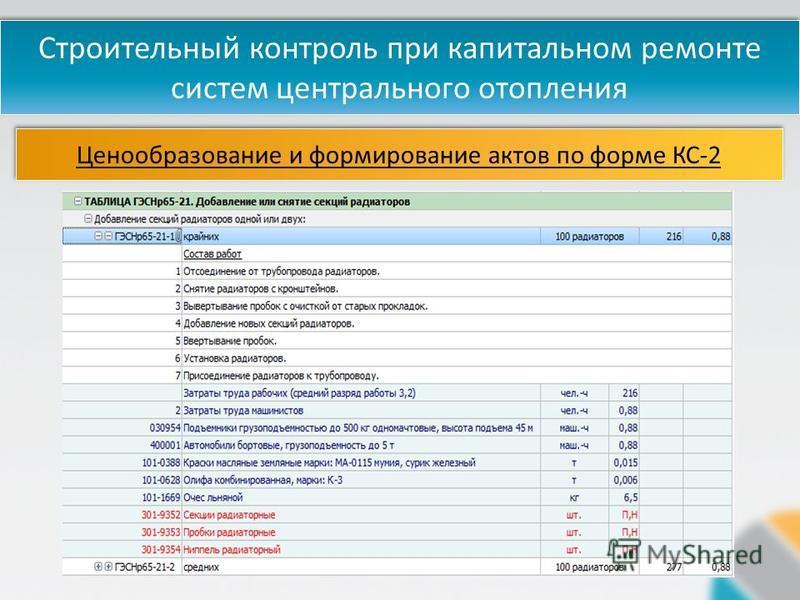 Строительный контроль при капитальном ремонте систем центрального отопления Ценообразование и формирование актов по форме КС-2