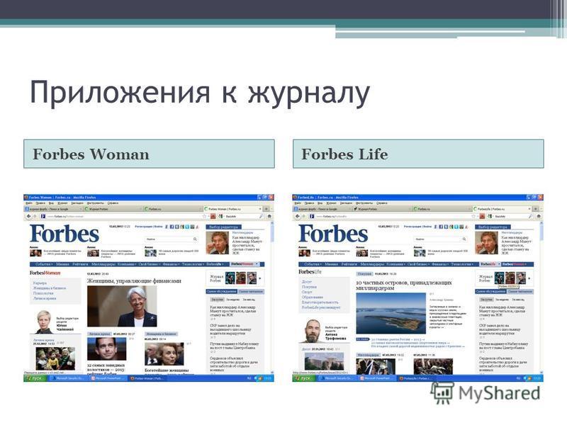 Приложения к журналу Forbes WomanForbes Life