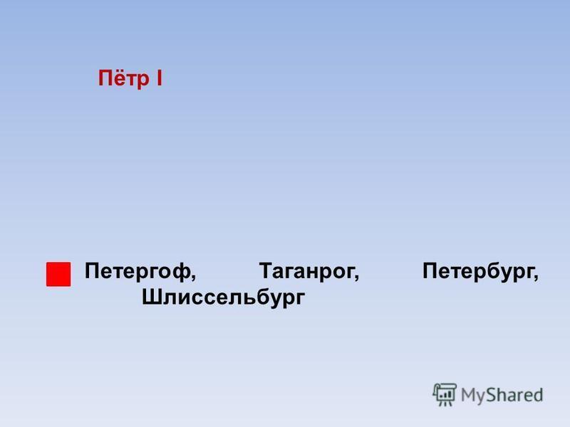 Пётр I Петергоф, Таганрог, Петербург, Шлиссельбург