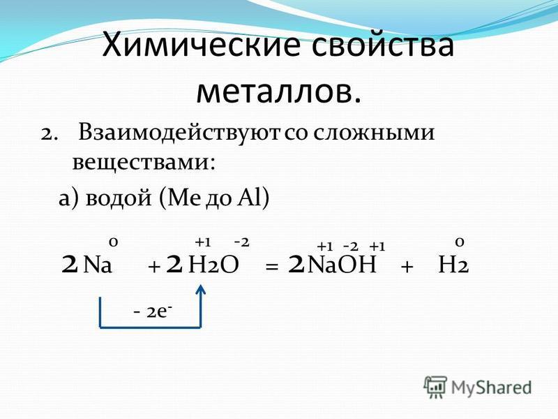 Химические свойства металлов. 2. Взаимодействуют со сложными веществами: а) водой (Me до Al) Na+H2O=NaOH 0 +1 - 2e - -2 +H2 222 +1 -2 0