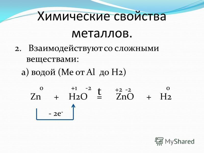 Химические свойства металлов. 2. Взаимодействуют со сложными веществами: а) водой (Me от Al до H2) Zn+H2O=ZnO 0 +2 - 2e - -2 +H2 +1 -2 0 t