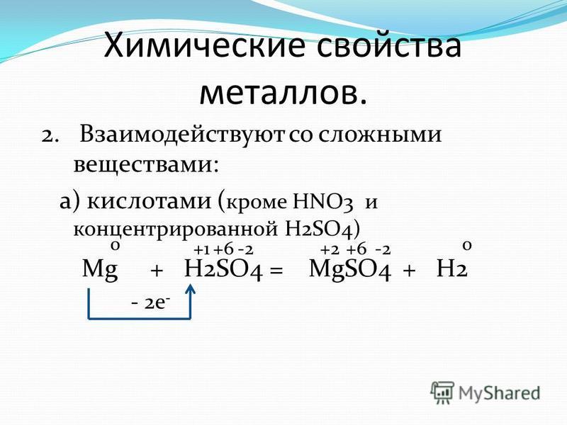 Химические свойства металлов. 2. Взаимодействуют со сложными веществами: а) кислотами ( кроме HNO3 и концентрированной H2SO4) Mg+H2SO4=MgSO4 0 +2-2 - 2e - -2 +H2 +1+6 0