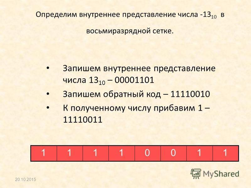 Определим внутреннее представление числа -13 10 в восьмиразрядной сетке. Запишем внутреннее представление числа 13 10 – 00001101 Запишем обратный код – 11110010 К полученному числу прибавим 1 – 11110011 20.10.2015 11001111